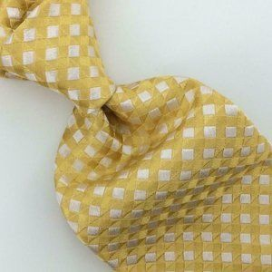 Brioni Tie Checkered Vivid Yellow Woven Selftipped